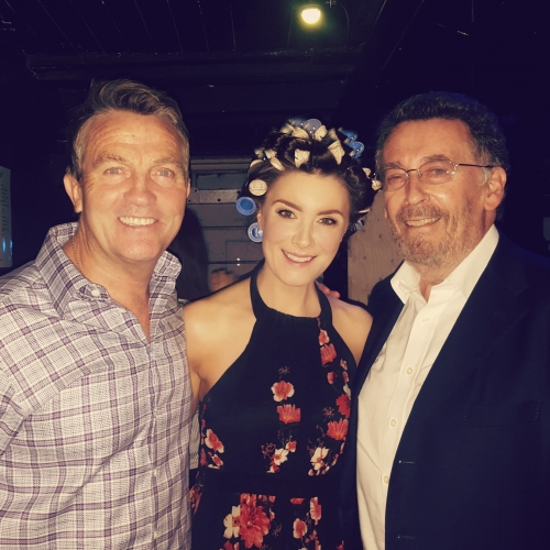 Margaret pictured pre-show with Host Bradley Walsh and actor Robert Powell