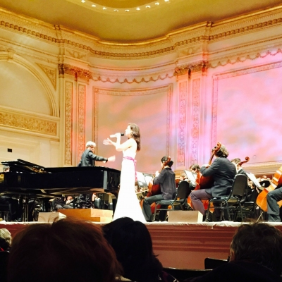 Margaret on stage at Carnegie Hall, New York