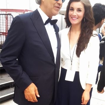 Margaret and Andrea Bocelli backstage at the celebrations for Pope Francis' visit to USA