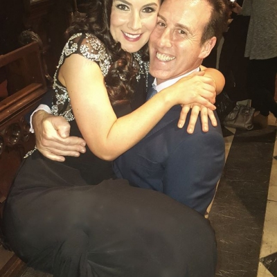 Margaret with Strictly come dancing star Anton Du Becke after performing at the annual Christmas Celebrity concert series