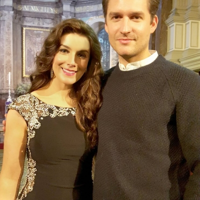 Margaret and actor Ben Aldridge after performing at the Celebrity Christmas Concert Series