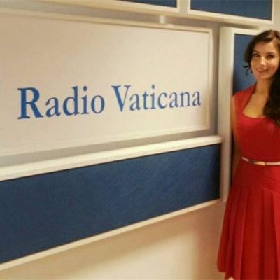 Margaret at the Vatican Radio Broadcast, Rome