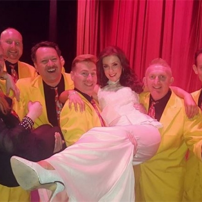 Margaret celebrates with the Jive Aces after the curtain went down!