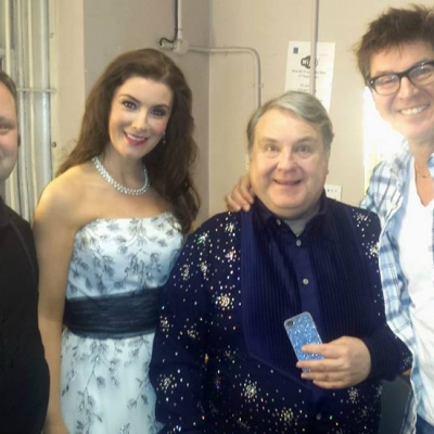 Margaret pictured backstage at the Theatre Royal with Paul Potts, Russell Grant and tenor Robert Meadmore