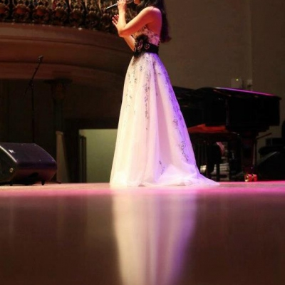 Margaret on stage at the Ulster Hall, Belfast