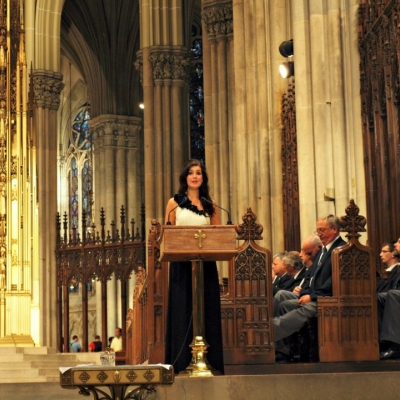 Margaret performing in St Patrick's Cathedral, New York